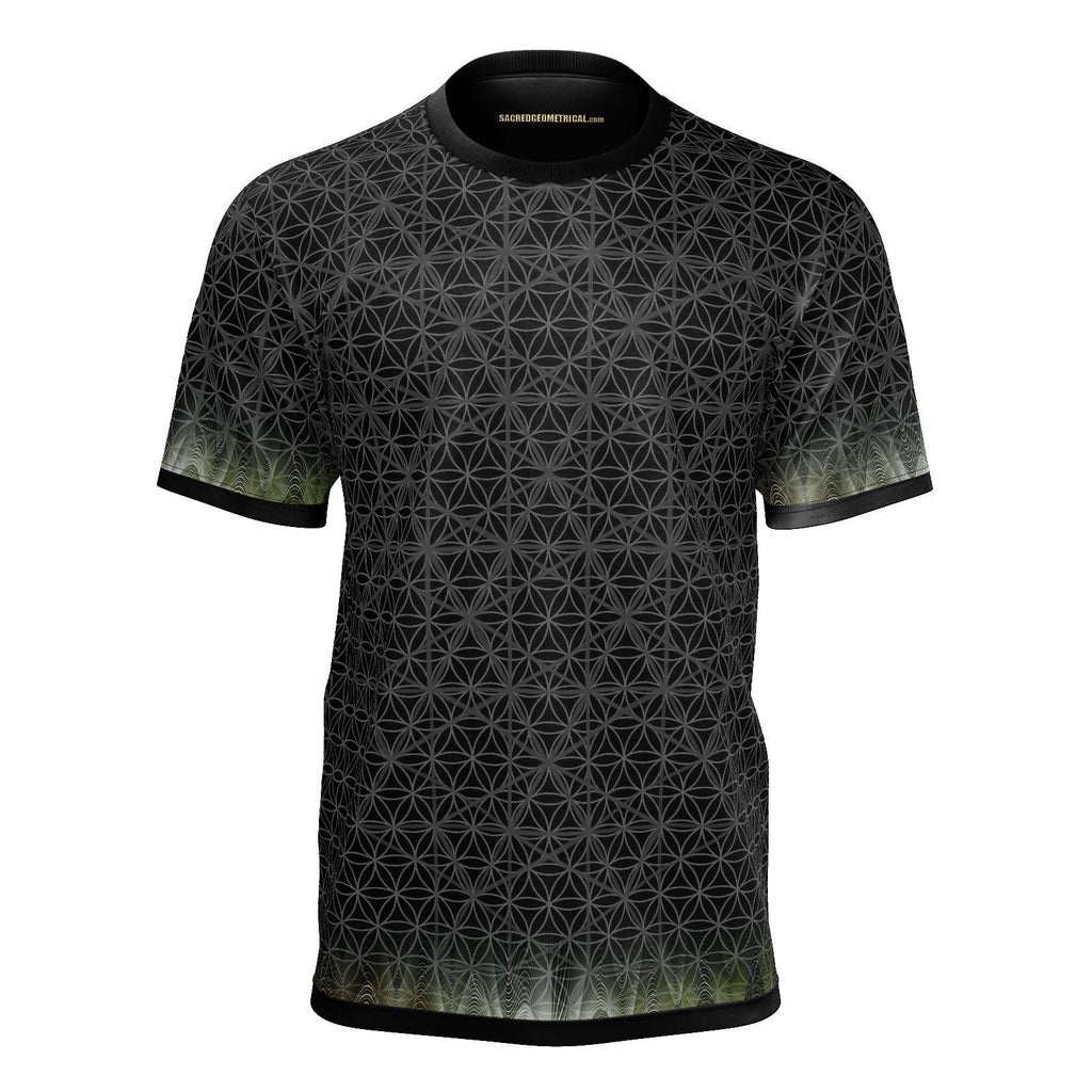 Black Isotropic Vector Waveform - SJ Tshirt-Shirt-Sacred Geometry Web mens clothing