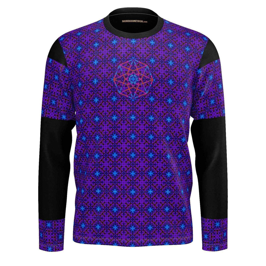 Cosmic Crew Hypercube - 4D Lucid Dreamer - Mens LS Tshirt-Shirt-Sacred Geometry Web mens clothing