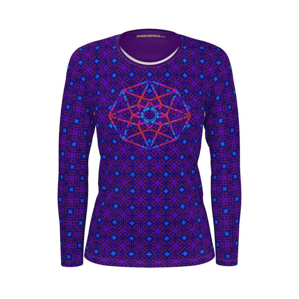 Cosmic Crew - Lucid Dreamer Womans LS - SJ Tshirt-Shirt-Sacred Geometry Web - Womens Flower of Life clothing