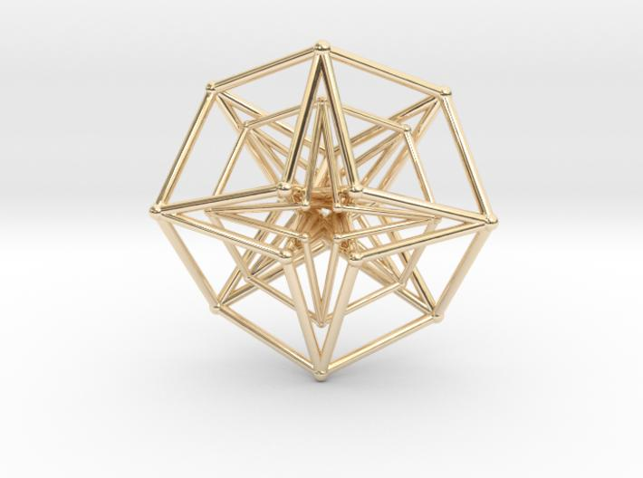 Double Hypercube pendant 30mm-Pendants and Necklaces-14k Gold Plated Brass-Sacred Geometry Web 3d printed geometric models