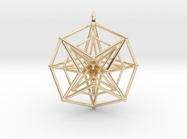 Double Hypercube pendant-Pendants and Necklaces-14k Gold Plated Brass-Sacred Geometry Web 3d printed jewellery