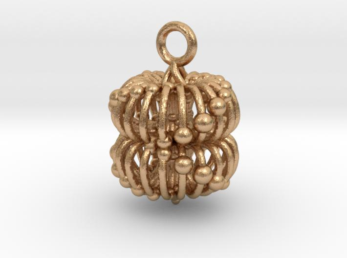 Double Torus  Pendant - 2 sizes-Mathematical Art-Natural Bronze-Sacred Geometry Web 3d printed jewellery