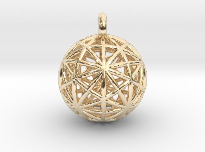 Earth Grid - disdyakis triacontahedron - 26mm diam-Pendants and Necklaces-14k Gold Plated Brass-Sacred Geometry Web 3d printed jewellery