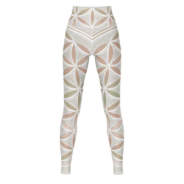 Fawn Flower - Yoga Pants-Leggings-Sacred Geometry Web - Womens Flower of Life clothing