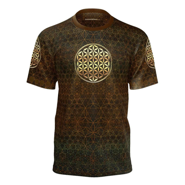 Flower in the Garden of Life - Autumn Fire - Tshirt-Shirt-Sacred Geometry Web mens clothing