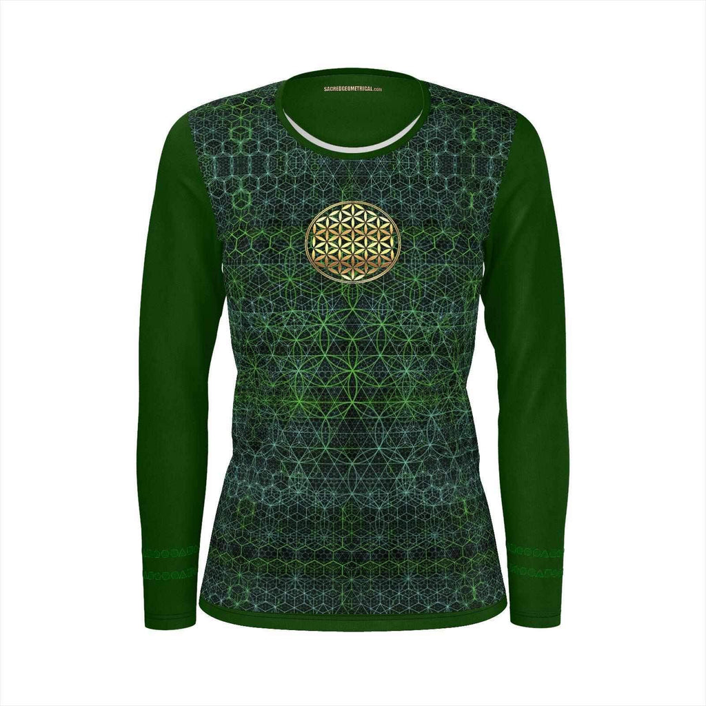 Flower in the Garden of Life - Womans Long Sleeve Tshirt SJ-Shirt-Sacred Geometry Web - Womens Flower of Life clothing