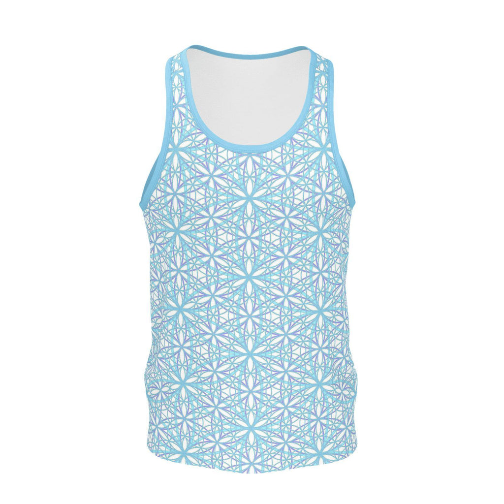 Flower of Life Cool Breeze - Mens Tanktop-Shirt-Sacred Geometry Web mens clothing
