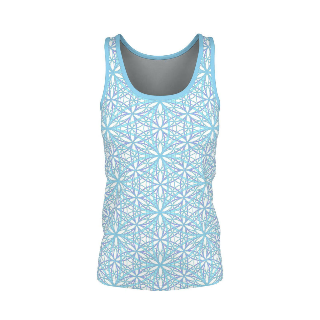 Flower of Life Cool Breeze - Womens Tanktop-Shirt-Sacred Geometry Web - Womens Flower of Life clothing
