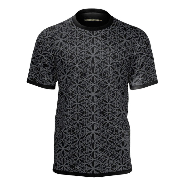 Flower of Life Fractal Dark - 3 design sizes - Mans T-Shirt-Sacred Geometry Web mens clothing