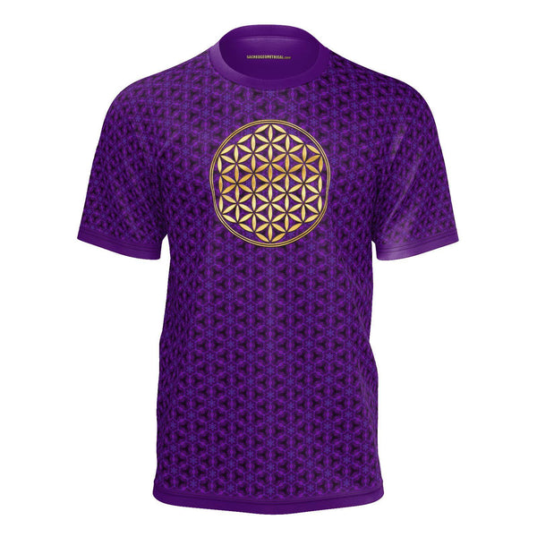 Flower of Life Purple Hexagons - Mens Tshirt SS-Shirt-Sacred Geometry Web mens clothing