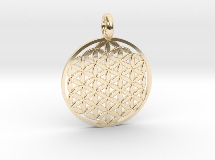 Flower of Life Sacred Geometry pendant - 22mm or 30mm-Pendants and Necklaces-14k Gold Plated Brass-Sacred Geometry Web 3d printed jewellery