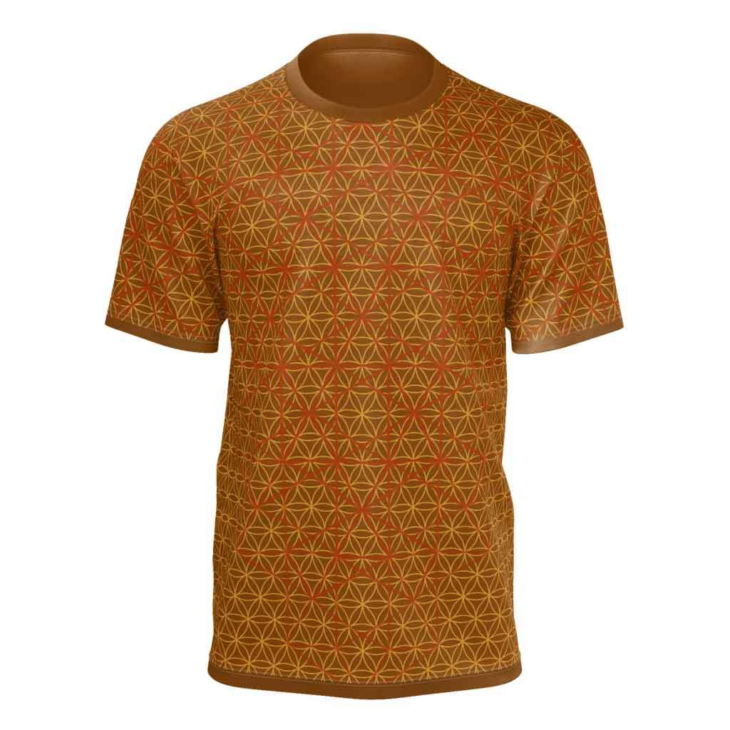 Flower of Life Vectors in Fiery Earth Colors - Mens Tshirt-Shirt-Sacred Geometry Web mens clothing