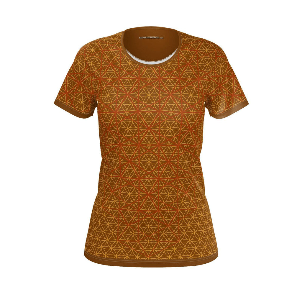 Flower of Life Vectors in Fiery Earth Colors - Womens SS SJ Tshirt-Shirt-Sacred Geometry Web - Womens Flower of Life clothing