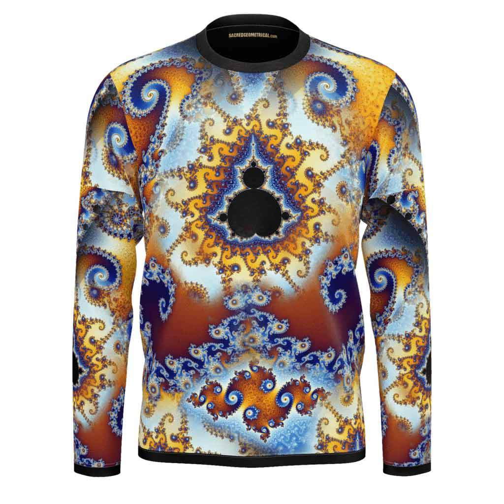 Fractal Fire - Fingerprint of Infinity- Mens LS SJ Tshirt-Shirt-Sacred Geometry Web mens clothing