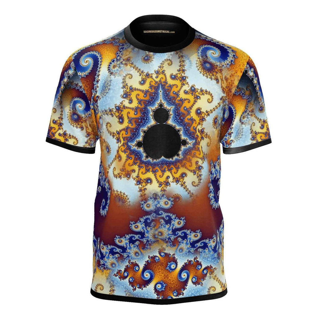 Fractal Fire - Fingerprint of Infinity- Mens Tshirt-Shirt-Sacred Geometry Web mens clothing