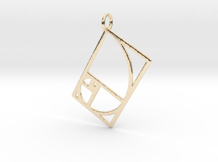Golden Rectangle Spiral-Pendants and Necklaces-14k Gold Plated Brass-Sacred Geometry Web 3d printed jewellery