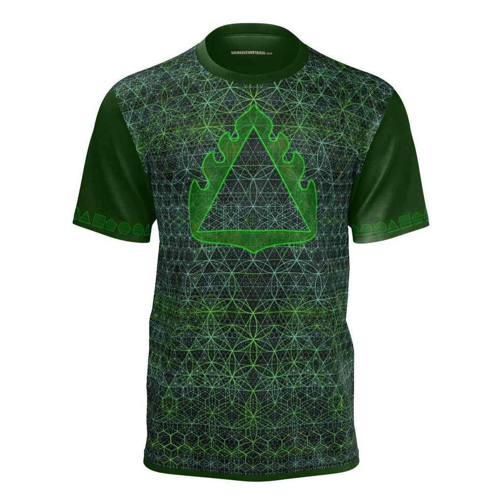 Green Fire in the Garden of Life - Mans SS Tshirt cc-Shirt-Sacred Geometry Web mens clothing