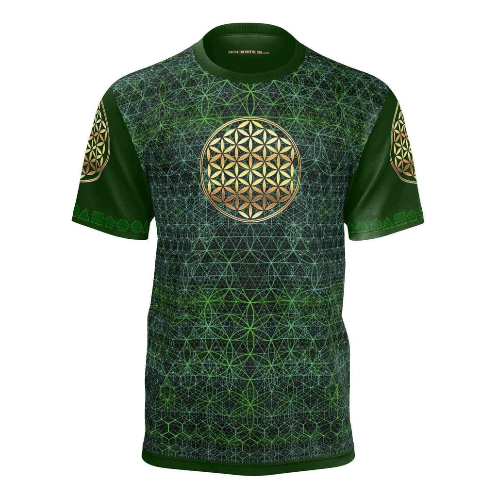 GreenFire - Flower in the Garden of Life - Mans SS Tshirt-Shirt-Sacred Geometry Web mens clothing