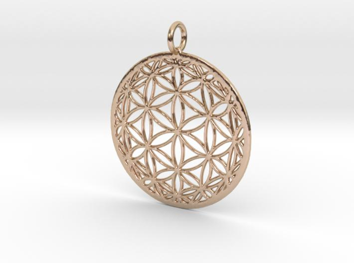 Hyperbolic Seed of Life 30mm & 40mm-Pendants and Necklaces-14k Rose Gold Plated Brass: Large-Sacred Geometry Web 3d printed jewellery