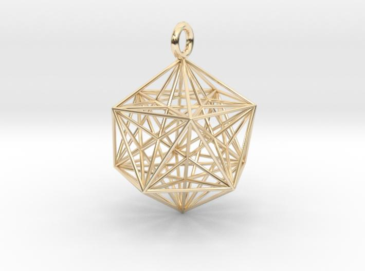 Icosahedron Dodecahedron Nest - 32mm-Pendants and Necklaces-14k Gold Plated Brass-Sacred Geometry Web 3d printed jewellery