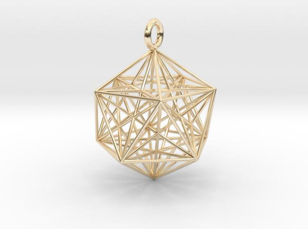 Icosahedron with inner Stellated Dodecahedron 30mm-Pendants and Necklaces-14k Gold Plated Brass-Sacred Geometry Web 3d printed jewellery