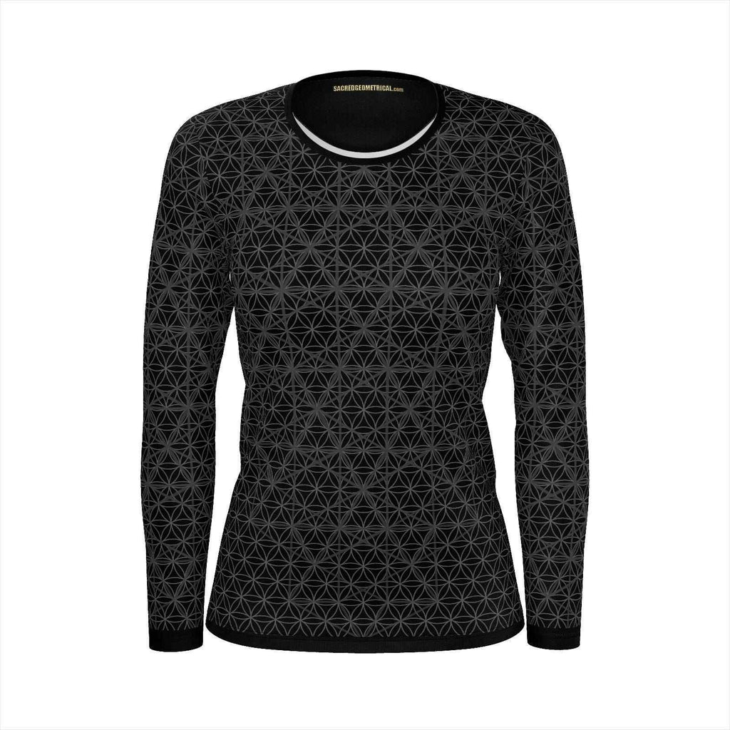 Isotropic Vector Grid - Womens LS Tshirt Black SJ-Shirt-Sacred Geometry Web - Womens Flower of Life clothing