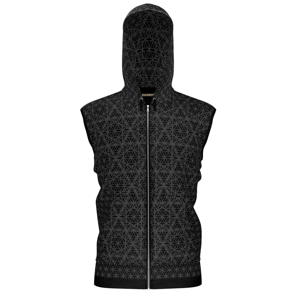 Isotropic Vector Matrix Black Plain-Hoodie-Sacred Geometry Web - Womens Flower of Life clothing