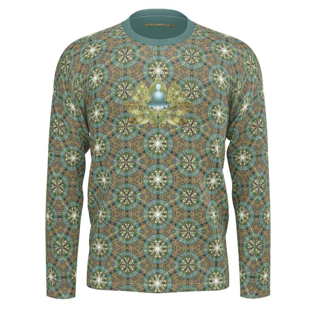 Meditator in the Lotus Pond - Mens LS SJ Tshirt-Shirt-Sacred Geometry Web mens clothing