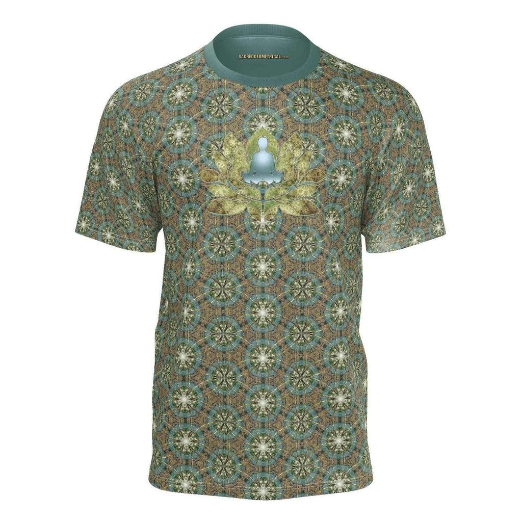 Meditator in the Lotus Pond - Tshirt-Shirt-Sacred Geometry Web mens clothing