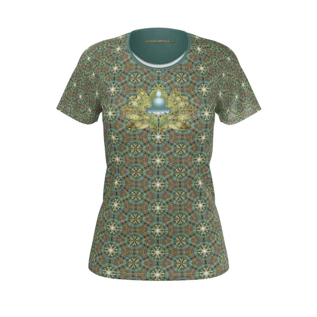 Meditator in the Lotus Pond - Womens SS SJ Tshirt-Shirt-Sacred Geometry Web - Womens Flower of Life clothing