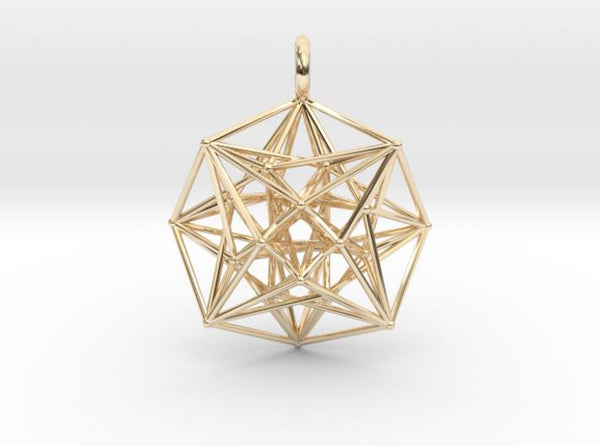 Metatron's Compass 35mm - 4D Vector Equilibrium-Pendants and Necklaces-14k Gold Plated Brass-Sacred Geometry Web 3d printed jewellery