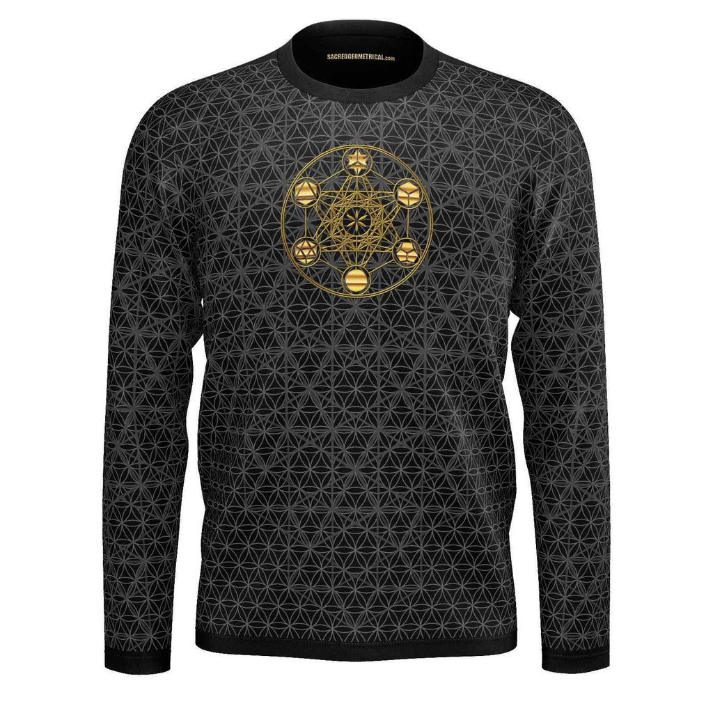 Metatron's Cube Isotropic Vector - Mens LS Tshirt-Shirt-Sacred Geometry Web mens clothing