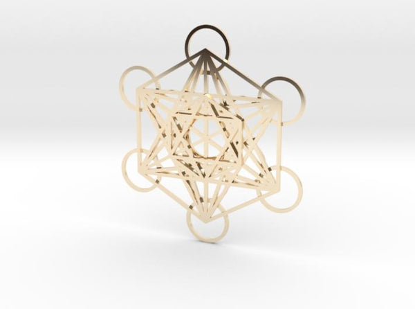 Metatrons Cube Layered 50mm-Mathematical Art-14k Gold Plated Brass-Sacred Geometry Web 3d printed geometric models