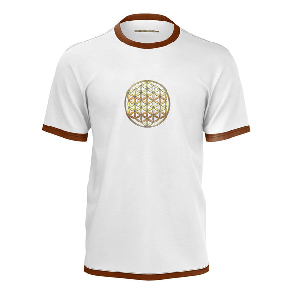Metatrons Flower Mans Tshirt White-Shirt-Sacred Geometry Web mens clothing