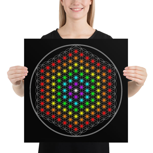 Spectral Flower of Life Game Board - Pure Geometric Mandala