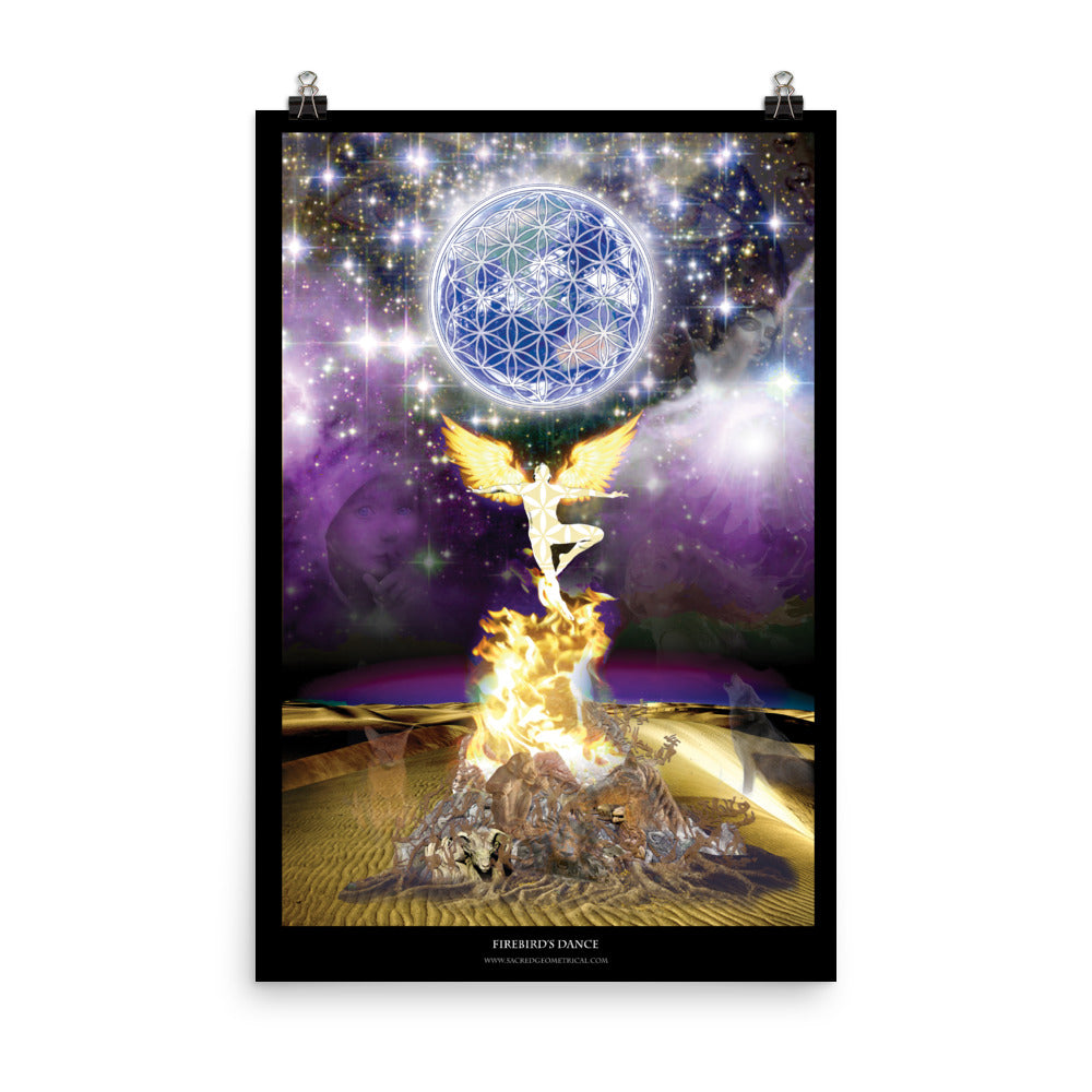Firebird Dancing in the Starry Desert - Poster