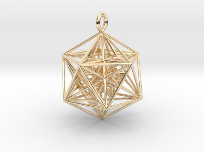 Nested Icosa Dodeca Icosa - 35mm-Pendants and Necklaces-14k Gold Plated Brass-Sacred Geometry Web 3d printed jewellery