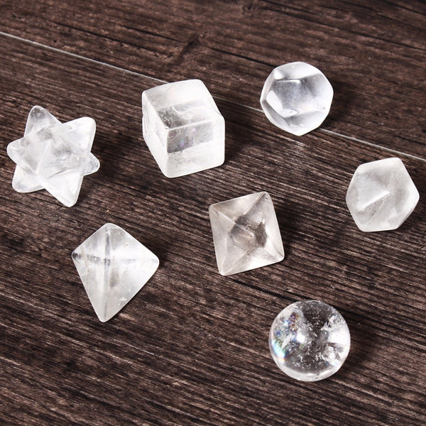 7pcs Clear Quartz Crystal  Platonic Solids plus Startetrahedron and Sphere 18-25mm