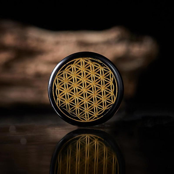 Engraved Crystal Flower of Life - Palm Stone