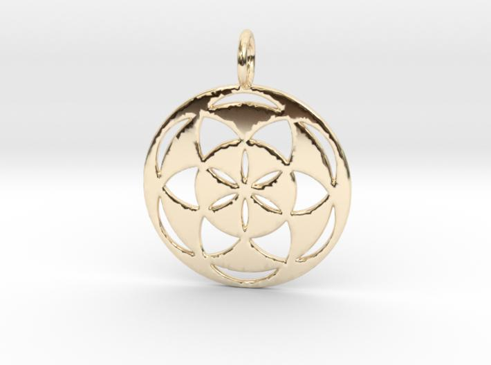 Seed of Life filled 29mm-Pendants and Necklaces-14k Gold Plated Brass-Sacred Geometry Web 3d printed jewellery