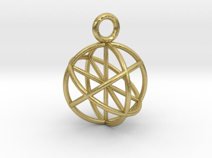 Seed of Life Genesa Sphere 20mm and 30mm-Pendants and Necklaces-Natural Brass: Medium-Sacred Geometry Web 3d printed jewellery