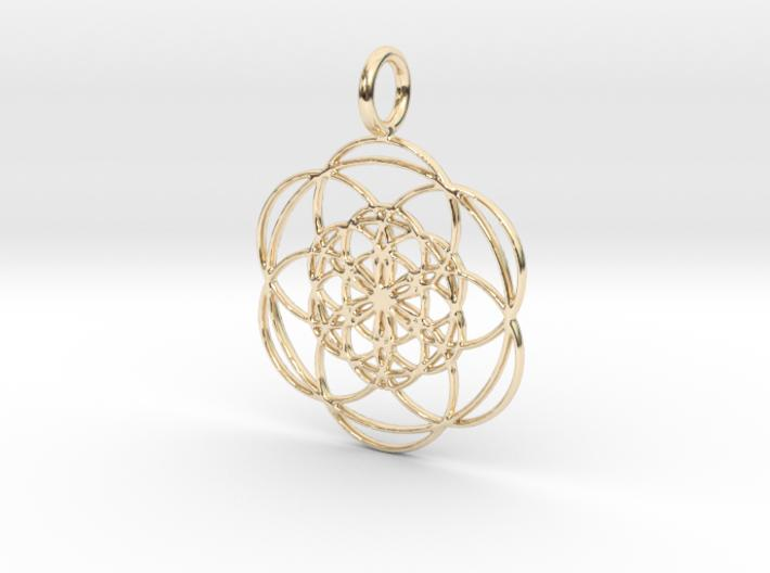 Seed of Life within Seed of Life 40mm 34mm-Pendants and Necklaces-14K Yellow Gold: Medium-Sacred Geometry Web 3d printed jewellery