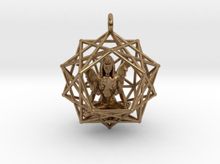 Solar Angel Starship 38mm-Pendants and Necklaces-Natural Brass-Sacred Geometry Web 3d printed jewellery