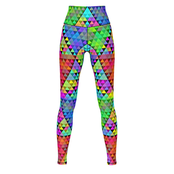 Spectral Triangles - Yoga Pants-Leggings-Sacred Geometry Web - Womens Flower of Life clothing