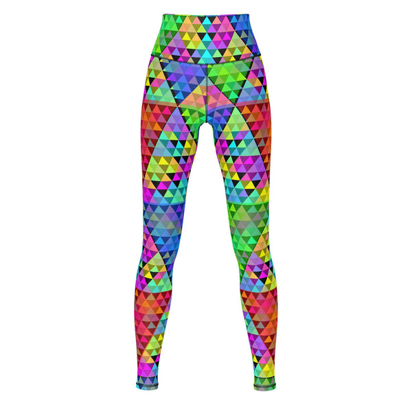 Spectrum Triangles 2 - Yoga Pants-Leggings-Sacred Geometry Web - Womens Flower of Life clothing