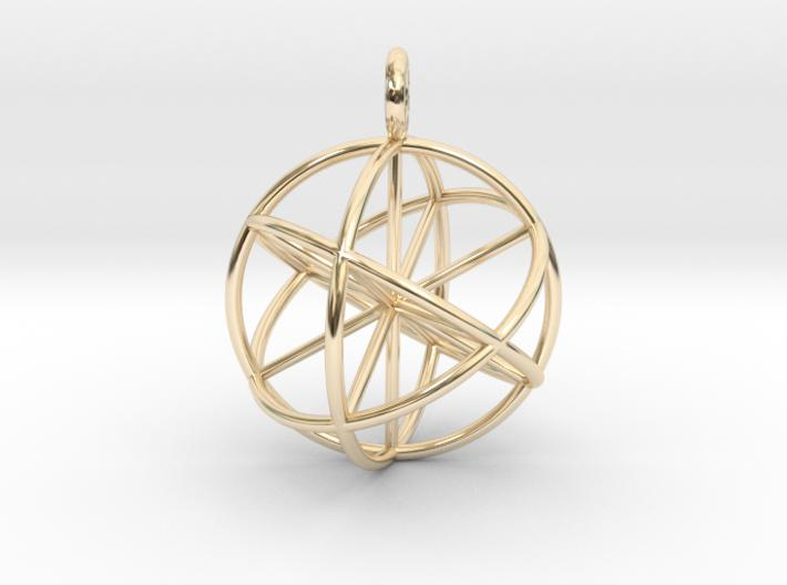 Spherical Vector Equilibrium - Genesa sphere - 30mm-Mathematical Art-14k Gold Plated Brass-Sacred Geometry Web 3d printed jewellery