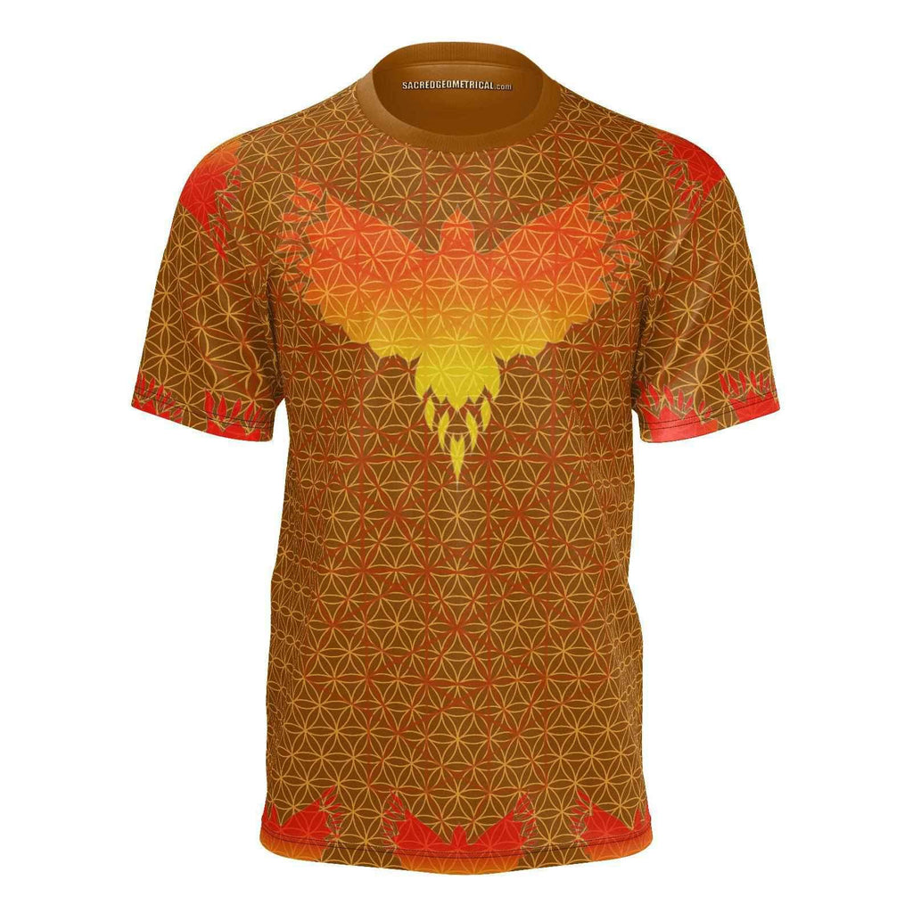 Spirit into Matter - the Phoenix and the Flower of Life - SJ-Shirt-Sacred Geometry Web mens clothing