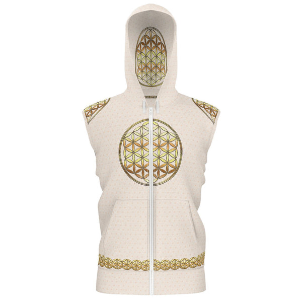 Spirit Ninja - Flower of Life - Gold-Hoodie-Sacred Geometry Web - Womens Flower of Life clothing