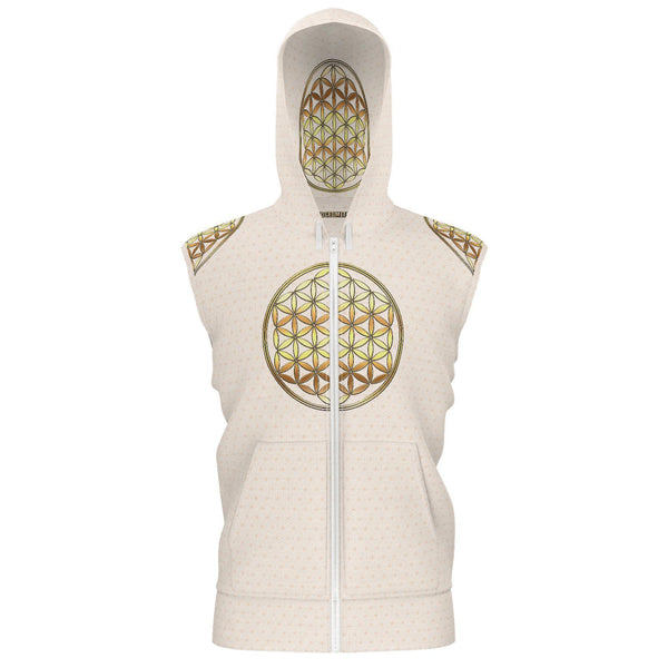 Spirit Ninja - Flower of Life - Gold plain-Hoodie-Sacred Geometry Web - Womens Flower of Life clothing