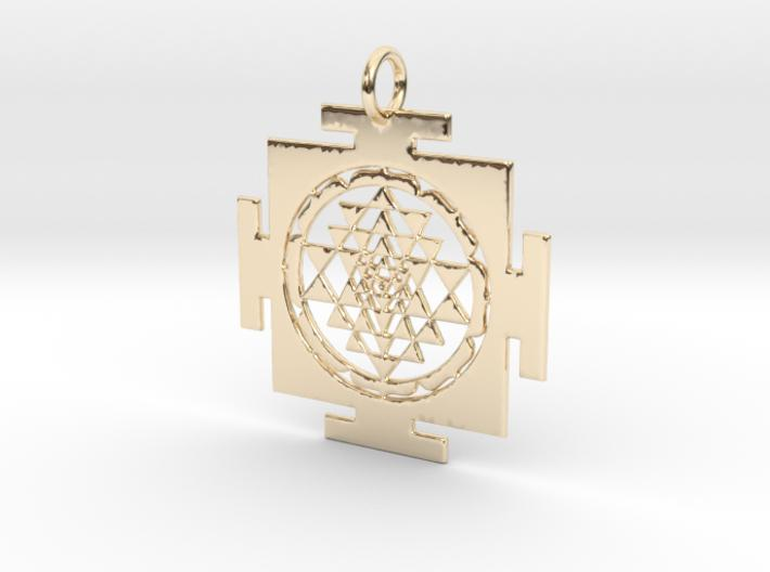 Sri Yantra in traditional setting 40mm-Pendants and Necklaces-14k Gold Plated Brass-Sacred Geometry Web 3d printed jewellery